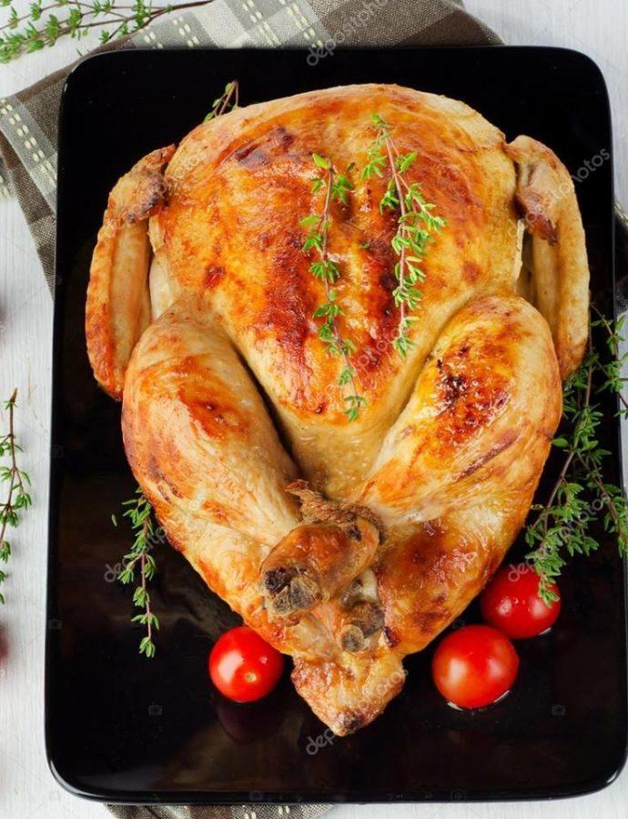 Νόστιμο ολόκληρο κοτόπουλο στον φούρνο