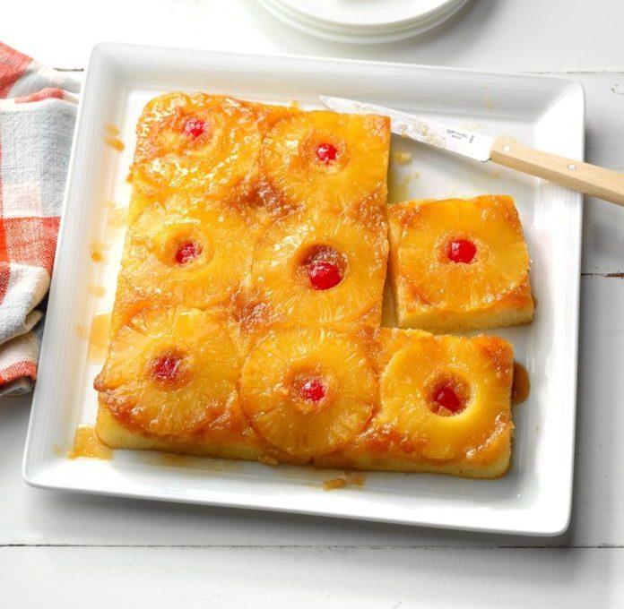 Κέικ ανανά, ανάποδο