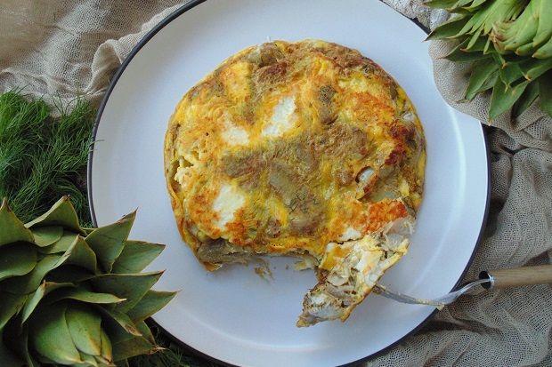 Αγκινάρες με αυγά ομελέτα