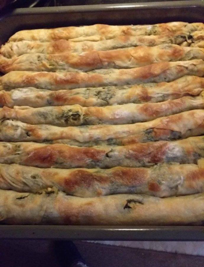 Πίτα-φλογέρες με σπανάκι