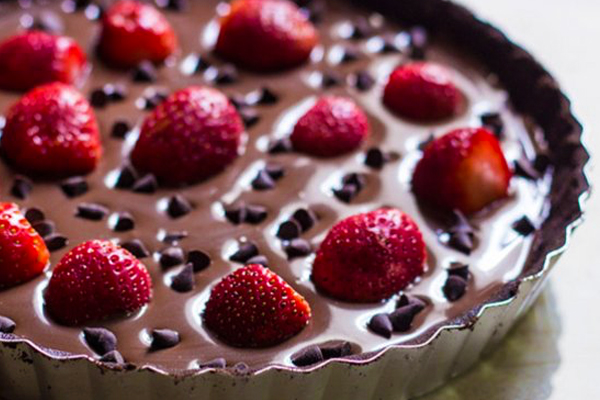 Σοκολατίνα (σαν τάρτα) με φράουλες