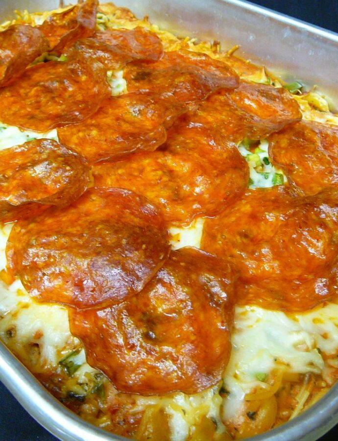 Μακαρόνια στον φούρνο με κρούστα πίτσας