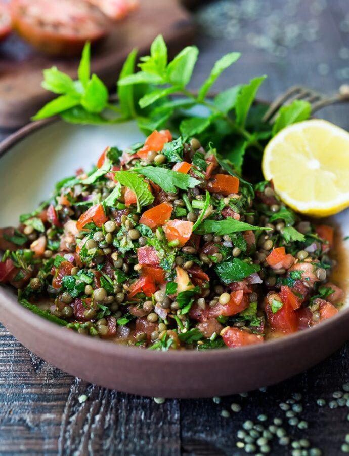 Ταμπουλέ σαλάτα με φακές και μπαχαρικά (νηστίσιμο)